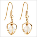 Magical Soul and Heart Cage Spiritual Powers Snow White Simulated Cats Eye Gold-Tone Amulets Earrings