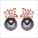 Adorable Cute Magical Butterflies Lucky Charms Gold-Tone Mystic Black Simulated Pearls Crystals Earrings