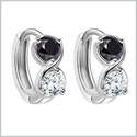 Small Cute Infinity Yin Yang Lucky Charm Silver-Tone Royal Black White Sparkling Crystals Amulet Earrings