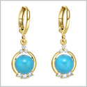 Beautiful and Fancy White Sparkling Crystals Cute Sky Blue Accents Gold-Tone Fashionable Eardrop Earrings