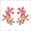 Fancy Beautiful Triple Lucky Magical Flowers Gold-Tone Baguette Royal Pink Sparkling Crystals Earrings