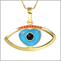 Cute Magical Heart Evil Eye Protection Amulet Lucky Charm Gold-Tone Royal Red Crystals 18 Inch Necklace