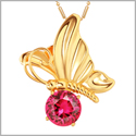 Magical Butterfly Good Luck Charm Amulet Gold-Tone Stud Royal Pink Sparkling Crystal 18 Inch Necklace