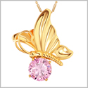 Magical Butterfly Good Luck Charm Amulet Gold-Tone Stud Sweet Pink Sparkling Crystal 18 Inch Necklace