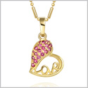 Eternity Love Powers Heart Good Luck Charm Gold-Tone Royal Pink Amulet Sparkling Crystal 18 Inch Necklace
