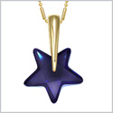 Small Cute Super Star Magical Powers Amulet Gold-Tone Ocean Blue Sparkling Crystal Charm 18 Inch Necklace