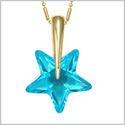 Small Cute Super Star Magical Powers Amulet Gold-Tone Sky Blue Sparkling Crystal Charm 18 Inch Necklace