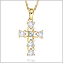 Magical Heart Accents Cross Gold-Tone Protection Powers Amulet White Sparkling Crystals 18 Inch Necklace