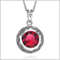 Magical Sunflower Shape Cute Lucky Charm Silver-Tone Royal Red Sparkling Crystals Amulet 18 Inch Necklace
