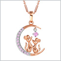 Love You to the Moon and Back Mouse Love Couple Amulet Gold-Silver-Tone Pink Crystals 18 Inch Necklace