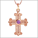 Amazing Cross Gold-Tone Royal Purple Sparkling Crystals Positive Powers Amulet Pendant 18 Inch Necklace