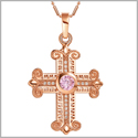 Amazing Cross Gold-Tone Sweet Pink Sparkling Crystals Positive Powers Amulet Pendant 18 Inch Necklace