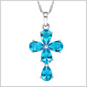 Magical Teardrop Style Cross Protection Amulet Silver-Tone Aqua Blue Sparkling Crystals 18 Inch Necklace