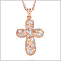 Stunning Fancy Cross Protection Powers Amulet Gold-Tone Unique Sparklilng Crystals 18 Inch Necklace