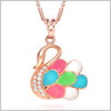 Cute and Beautiful Swan Love Symbol Amulet Gold-Tone Sparkling Crystals Colorful Accents 18 Inch Necklace