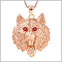Howling Wolf Courage and Protection Powers Amulet Gold-Tone Royal Red Sparkling Crystals 18 Inch Necklace