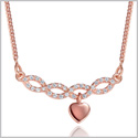 Small Cute Infinity Style Bar Dangling Heart Lucky Charm Love Amulet Gold-Tone Crystals 18 Inch Necklace