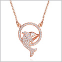 Fancy and Magical Eternity Circle Dolphin Lucky Charm Gold-Tone White Sparkling Crystals 18 Inch Necklace