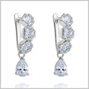 Fancy and Sparkling Princess Cut and Teardrop Crystals Silver-Tone Positive Energy Lucky Charms Earrings