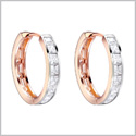 Fancy and Elegant Hoop Magical Circles Gold-Silver-Tone Princess Cut Sparkling Crystals Amulet Earrings