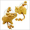 Amulet Baby and Mother Elephant Family Good Luck Charm Protection Powers Feng Shui Keychain Set Blessings