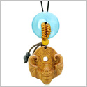 Magic Bat Fortune Car Charm or Home Decor Sky Blue Simulated Cats Eye Lucky Coin Donut Protection Amulet