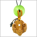Magic Bat Fortune Car Charm or Home Decor Green Simulated Cats Eye Lucky Coin Donut Protection Amulet
