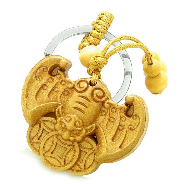 Sandal Wood Feng Shui Keychains Amulet Flying Bat Lucky Coins