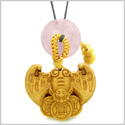 Flying Bat Lucky Coins Car Charm or Home Decor Rose Quartz Donut Protection Powers Amulet