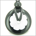 Double Lucky Amulet Yin Yang Donuts Flower Black Onyx White Jade Gemstones Spiritual Evil Eye Protection Powers Pendant Necklace