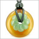 Double Lucky Amulet Magic Donut and Flower Carnelian Green Aventurine Gemstones Protection and Money Powers Pendant Necklace