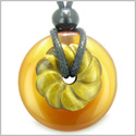 Double Lucky Amulet Magic Donut and Flower Carnelian and Tiger Eye Gemstones Evil Eye Protection Powers Pendant Necklace