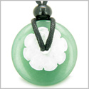 Double Lucky Amulet Magic Donut and Flower Green Aventurine White Jade Gemstones Protection and Money Powers Pendant Necklace