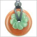 Double Lucky Amulet Magic Donut and Flower Red Jasper and Green Aventurine Gemstones Believe and Money Powers Pendant Necklace