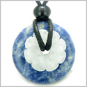 Double Lucky Amulet Magic Donut and Flower Sodalite White Jade Gemstones Protection and Good Luck Powers Pendant Necklace