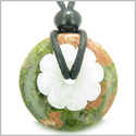 Double Lucky Amulet Magic Donut and Flower Unakite and White Jade Gemstones Protection and Spiritual Powers Pendant Necklace