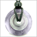 Individual Magic Circles Amulet Double Lucky Donuts Amethyst and Rock Quartz Gemstones Pendant Necklace