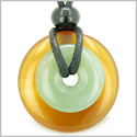 Double Lucky Amulet Magic Donuts Carnelian and Green Aventurine Gemstones Protection and Money Powers Pendant Necklace