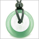 Double Lucky Amulet Magic Donuts Green Aventurine and White Jade Gemstones Protection and Money Powers Pendant Necklace