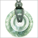 Individual Magic Circles Amulet Double Lucky Donuts Green Moss Agate and Rock Quartz Gemstones Pendant Necklace