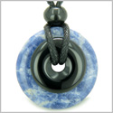 Double Lucky Amulet Magic Donuts Sodalite and Black Onyx Gemstones Spiritual and Good Luck Powers Pendant Necklace