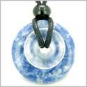 Individual Magic Circles Amulet Double Lucky Donuts Sodalite and Rock Quartz Gemstones Pendant Necklace
