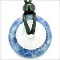 Double Lucky Amulet Magic Donuts Sodalite White Jade Gemstones Protection and Good Luck Powers Pendant Necklace