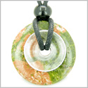 Individual Magic Circles Amulet Double Lucky Donuts Unakite and Rock Quartz Gemstones Pendant Necklace
