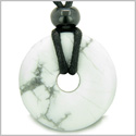 Amulet Lucky Magic Donut White Howlite Gemstone Crystals Aura Protection and Healing Powers Pendant Necklace