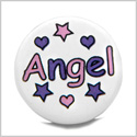 12 Pieces DIY Reversible Ceramic Handcrafted Angel Purple Pink Stars Hearts 21mm Beads with Large Hole