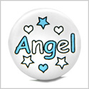 12 Pieces DIY Reversible Ceramic Handcrafted Angel Sky Blue White Stars Hearts 21mm Beads with Large Hole