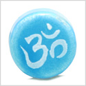12 Pieces DIY Reversible Ceramic Handcrafted OM Ohm Sky Blue Tibetan Amulet 14mm Painted Large Hole Beads