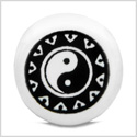 12 Pieces DIY Reversible Ceramic Handcrafted Magic Black Accent Yin Yang Amulet 14mm Large Hole Beads