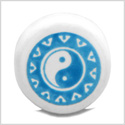 12 Pieces DIY Reversible Ceramic Handcrafted Magic Sky Blue Accent Yin Yang Amulet 14mm Large Hole Beads